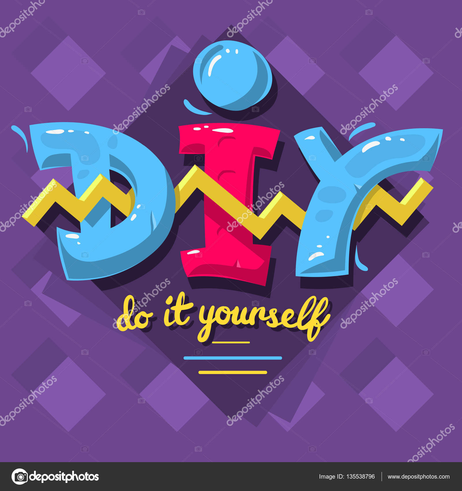 Diy acronym do it yourself 90 s vibrant colors aesthetic typ diy acronym do it yourself 90 s vibrant colors aesthetic typ stock vector solutioingenieria Gallery