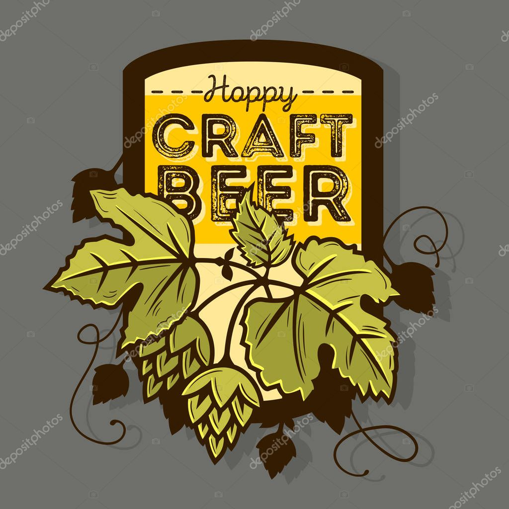 Hoppy Craft Beer Label With Leaves And Hops Illustration. Vector
