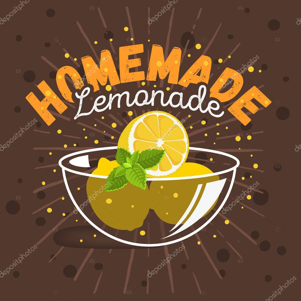 Glass Bowl Cup Plate Dish With Sliced Lemons And Mint Illustrations Preparation For Homemade Lemonade. Vector Graphic.