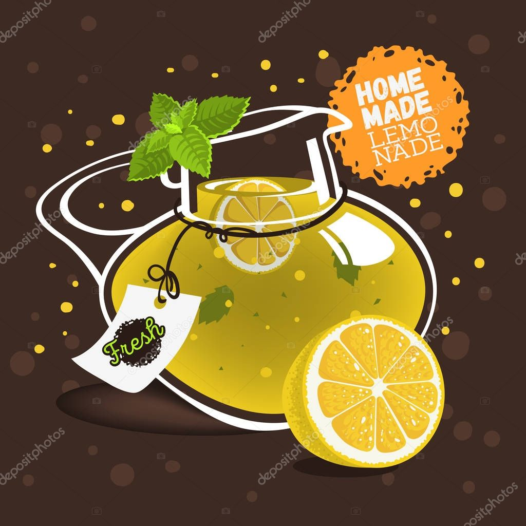 Glass Jug Pitcher Pot Filled Up With Homemade Lemonade With A Br