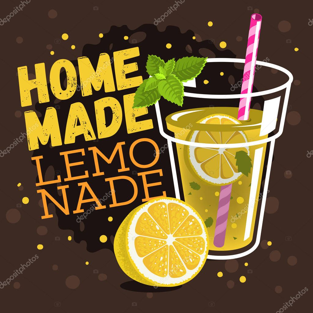 Glass Filled Up With Homemade Lemonade With A Branch Of Mint, Sl