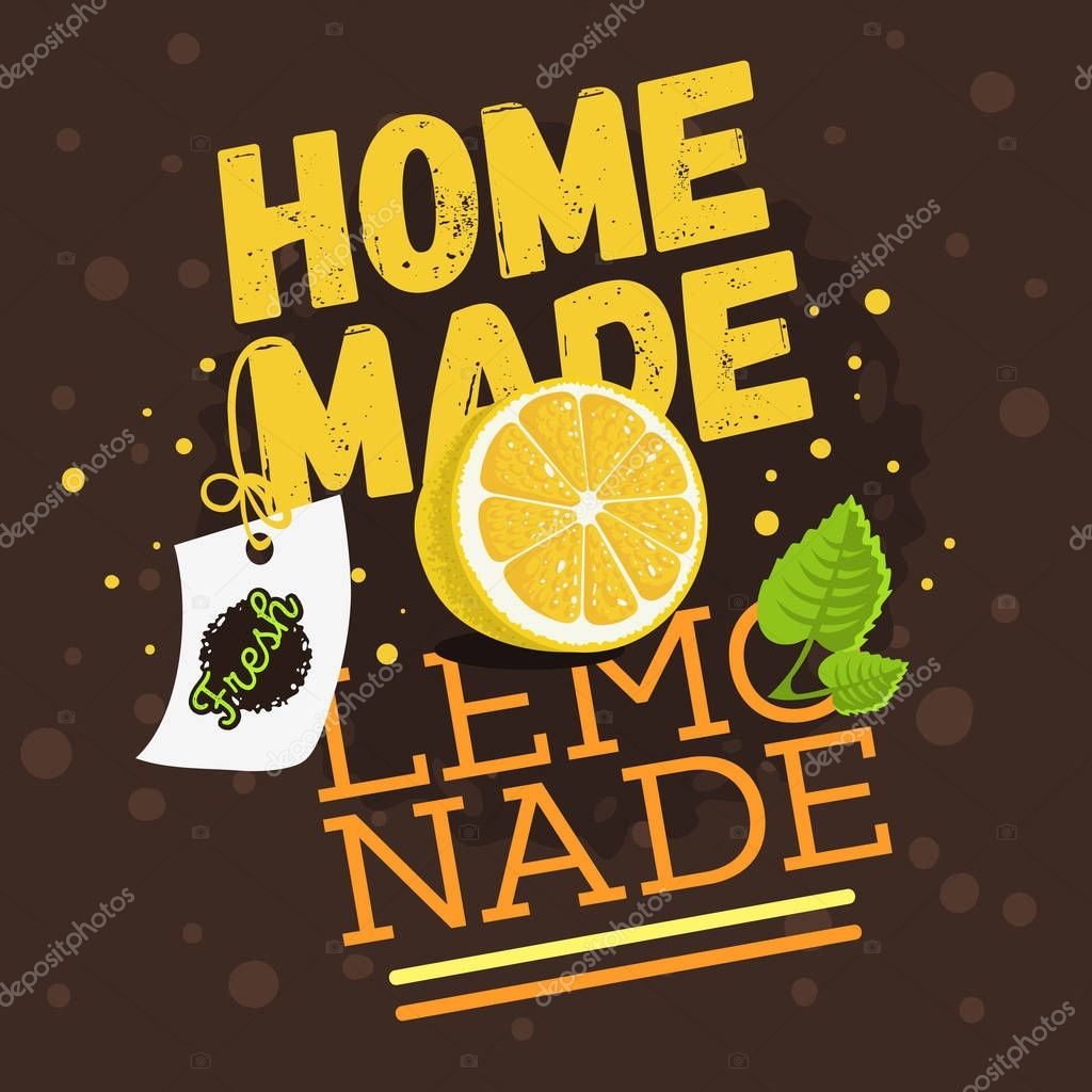 Homemade Lemonade Typographic Design With A Branch Of Mint, Slic