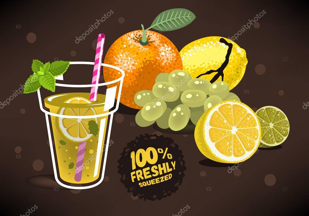 Fresh Fruits For Squeezed Juice With An Orange, Lemon, Lime, Gra