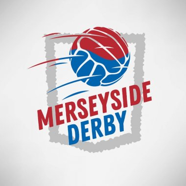 Merseyside Derby Of Liverpool And Manchester, United Kingdom, England. Football Or Soccer Logo Label Emblem Design With Old Fashioned Ball.