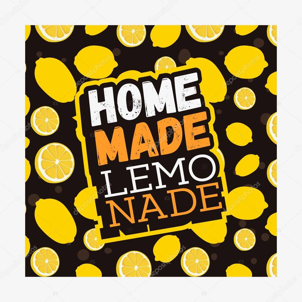Home Made Lemonade Typographic Design With Seamless Pattern With Lemons.