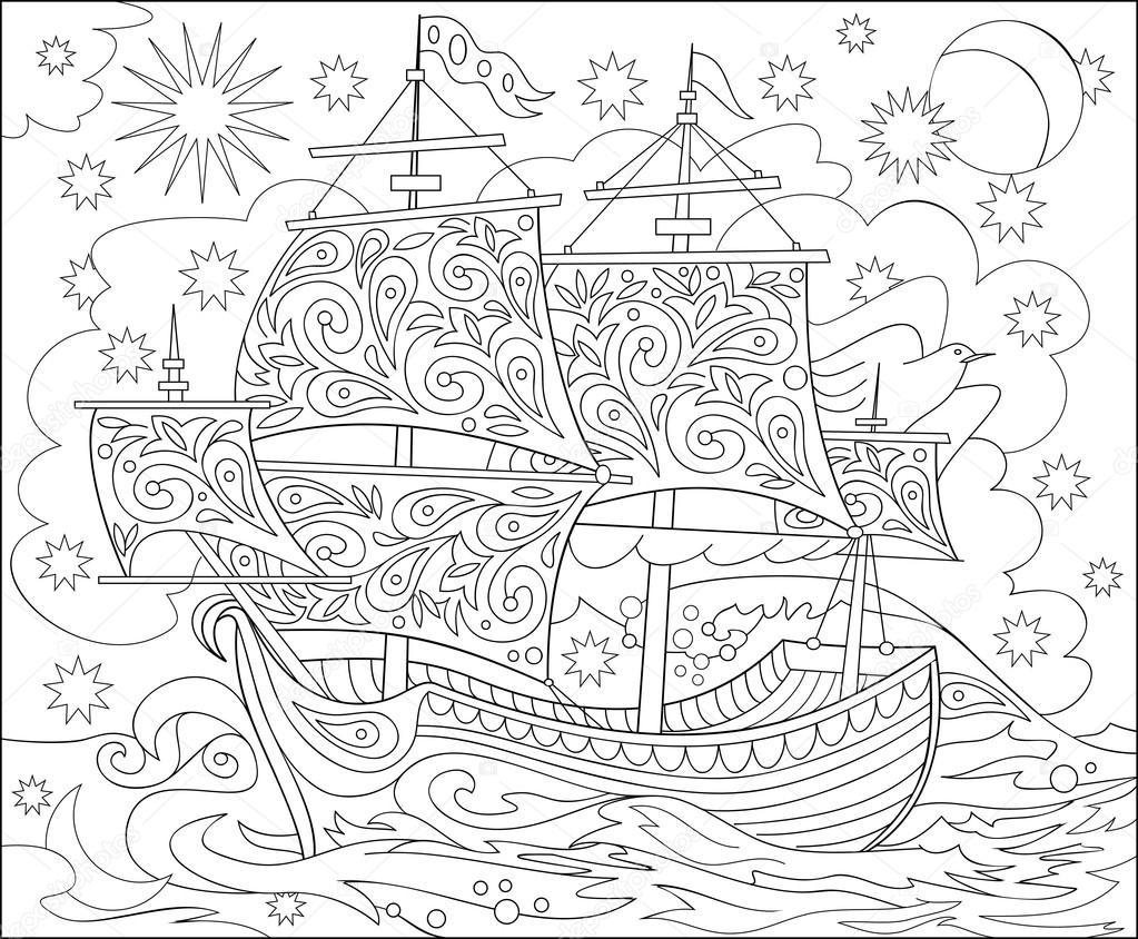 Página con ilustración blanco y negro de nave de tierra de las hadas ...