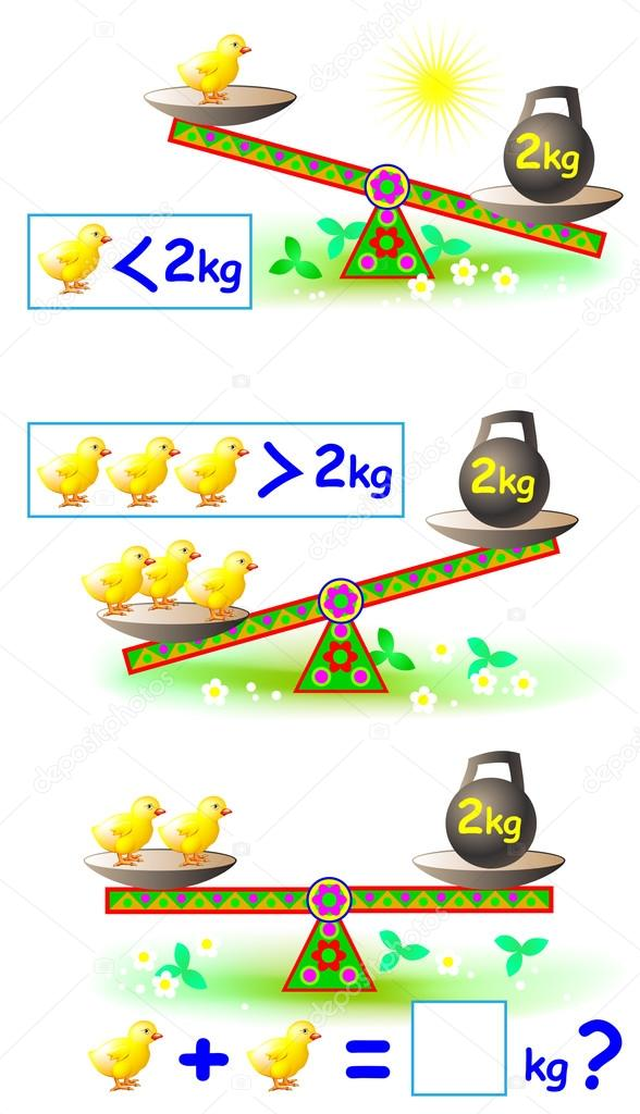 Page with mathematical exercises for young children. — Stock Vector ...