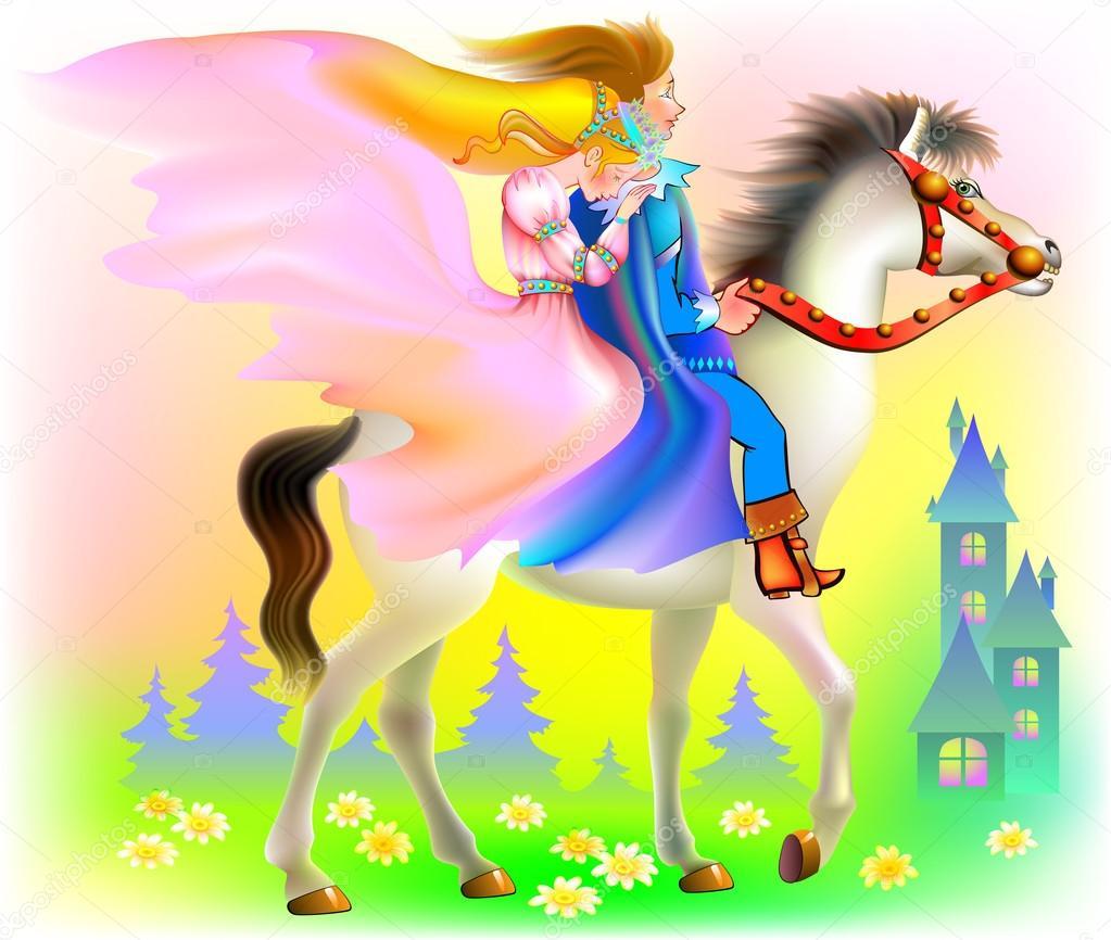 Príncipe y príncipes cabalgando en caballo — Vector de stock ...