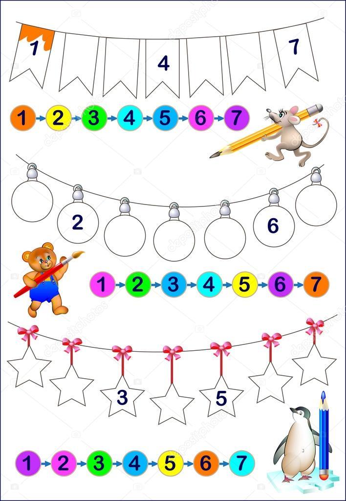 Pädagogische Seite für junge Kinder. Notieren Sie die Nummern in der ...