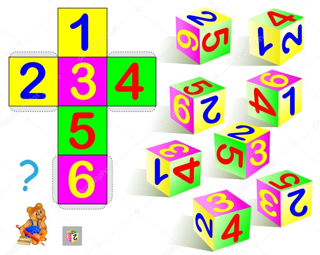 Logik-Puzzle. Finden Sie, die nur einen Würfel, der die Muster ...