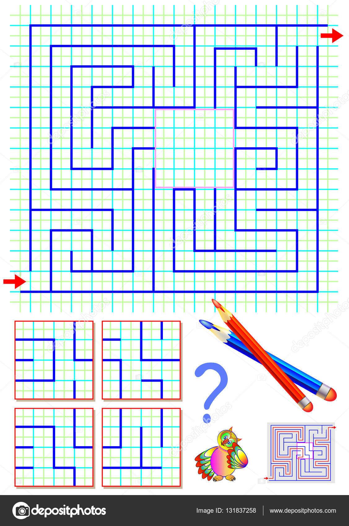 Puzzle de lógica con el laberinto. Tiene que encontrar la pieza ...