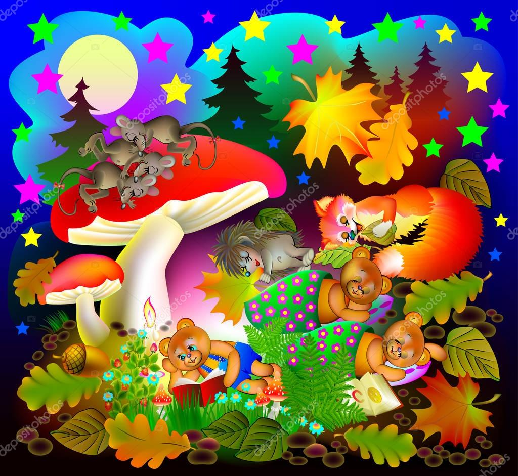 Illustration of wonderland night landscape with sleeping animals.