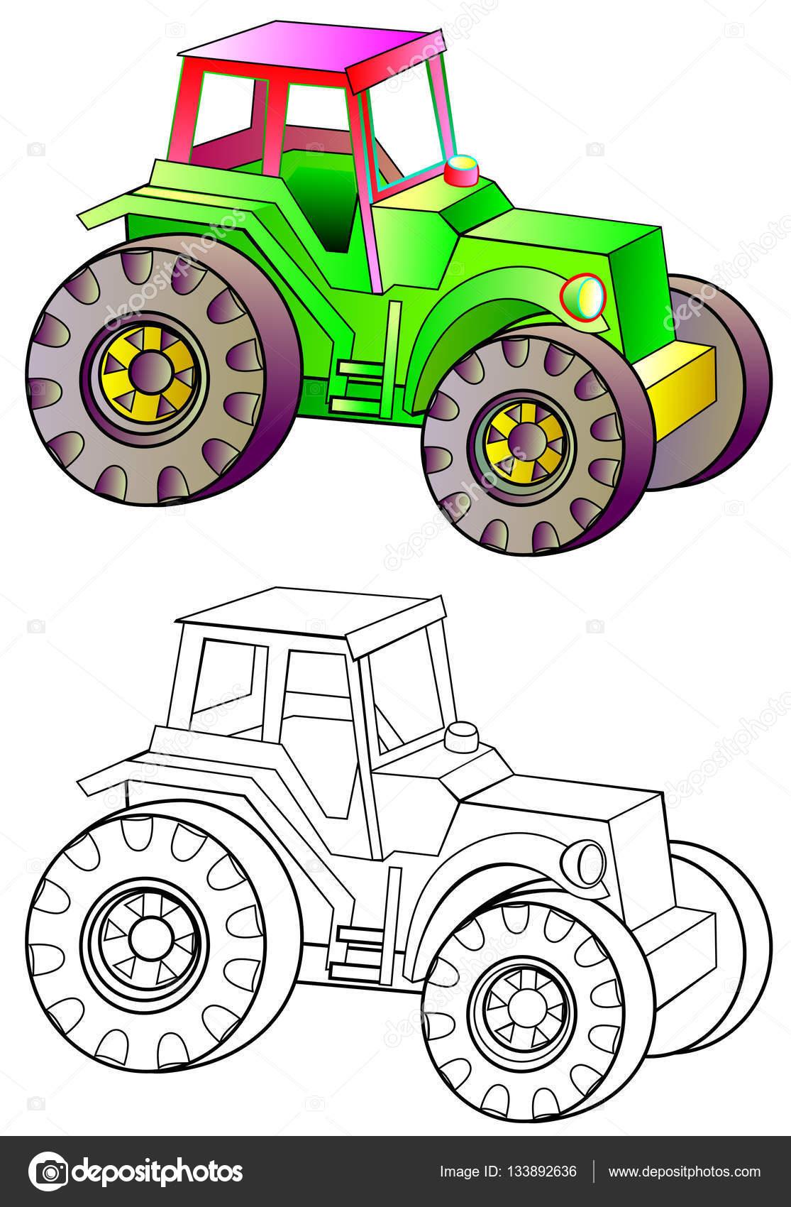 Colores y blanco y negro patrón de tractor — Archivo Imágenes ...