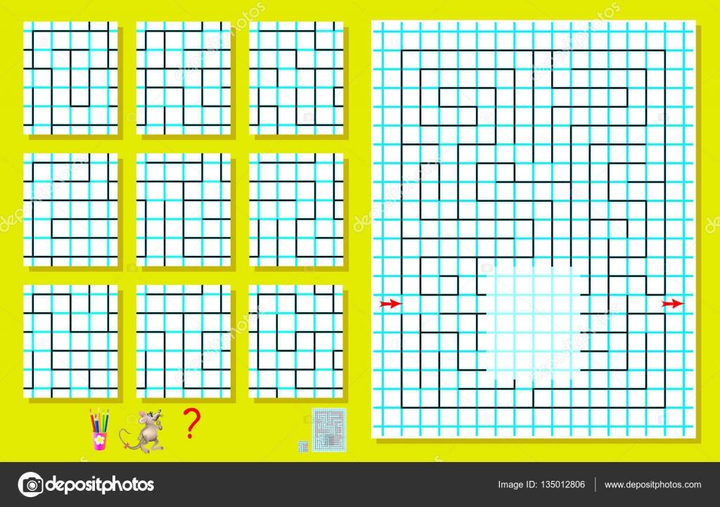 Puzzle de lógica con el laberinto en un papel cuadrado. Tiene que ...