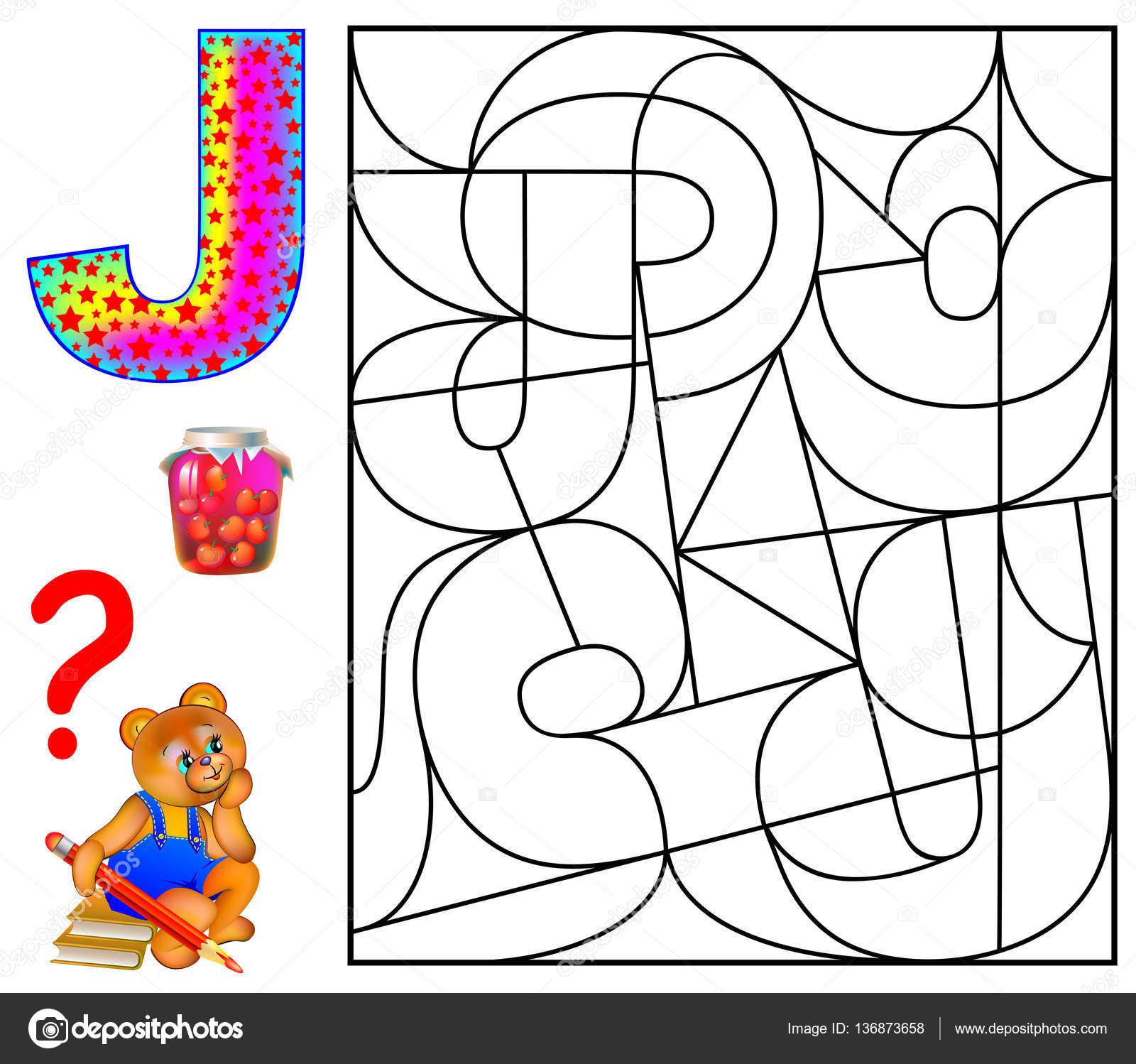 Página educativa con la letra J para estudio inglés. Puzzle de ...