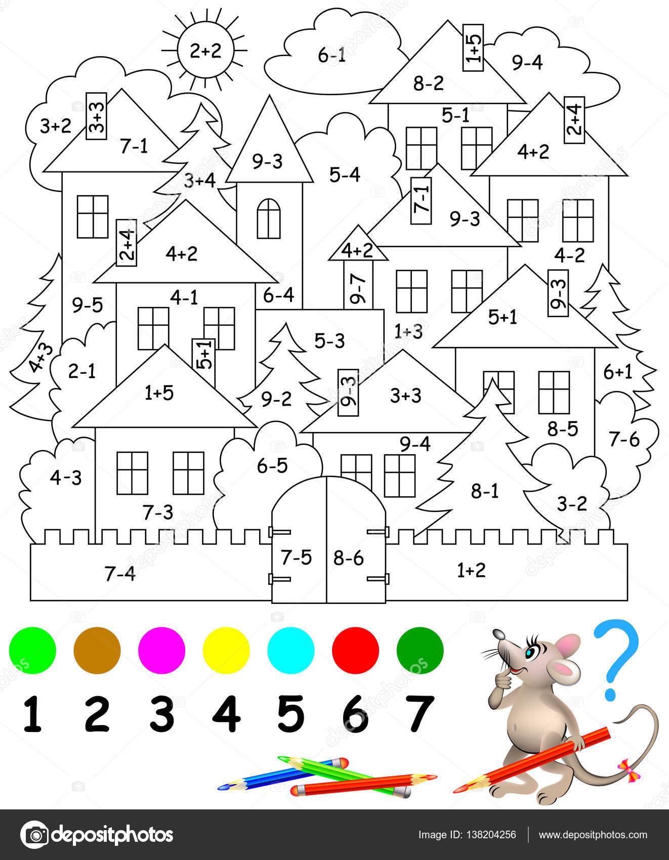 Dibujos Signo De Suma Para Colorear Página Educativa Con
