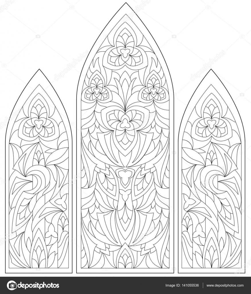 Página para colorear en blanco y negro. Dibujo de hermosas ventanas ...