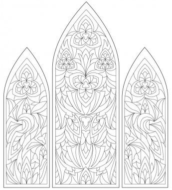Black and white page for coloring. Fantasy drawing of beautiful Gothic windows with stained glass in medieval style.  Worksheet for children and adults.