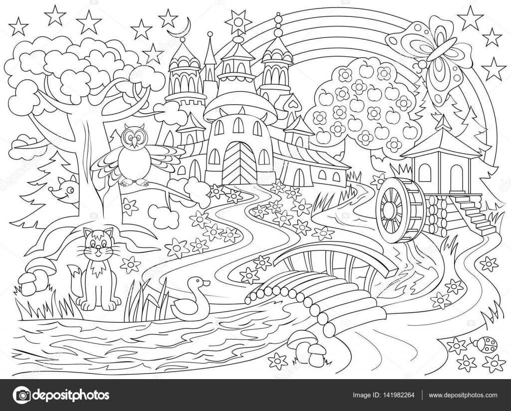 Blanco y negro dibujo de país país de las hadas. Dibujo de castillo ...