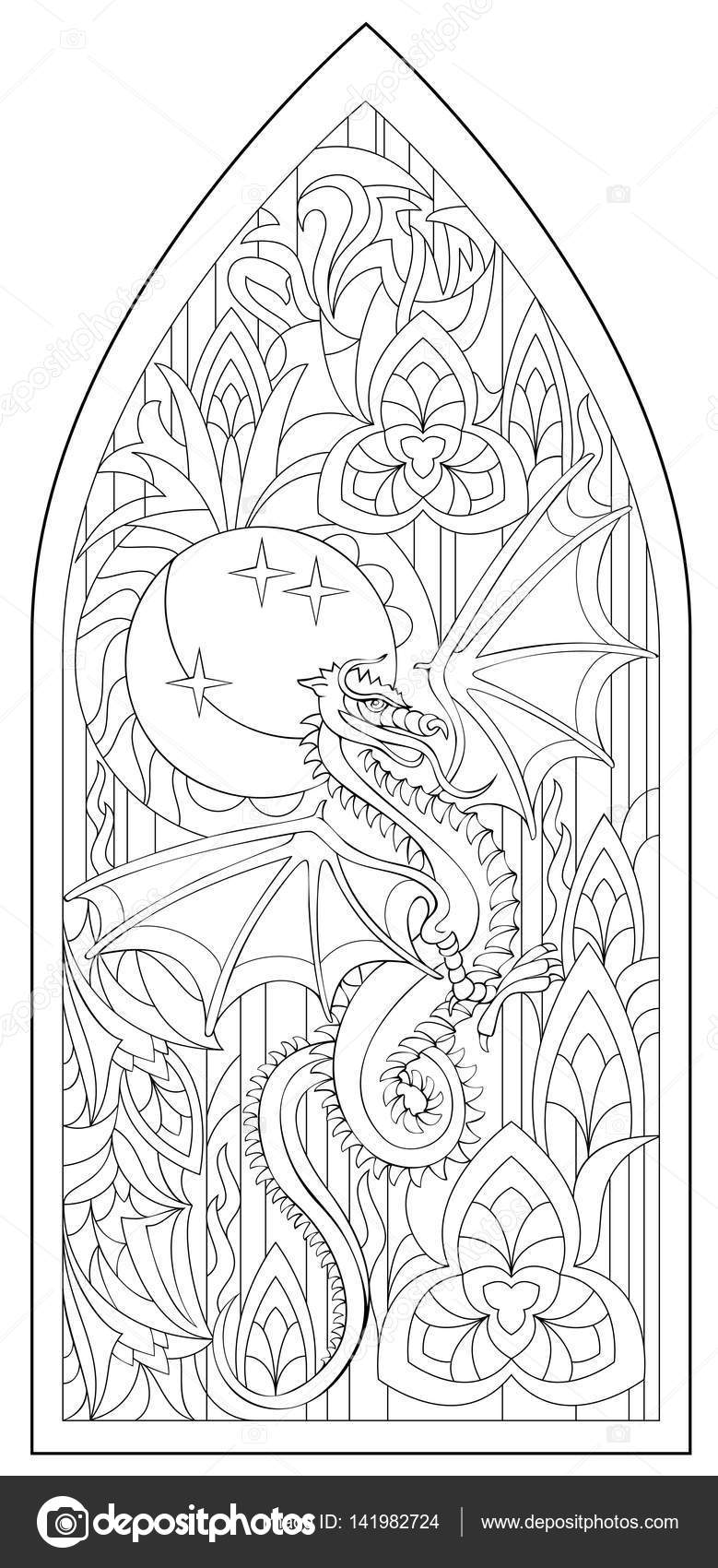 Página con blanco y negro dibujo de hermosa ventana gótica medieval ...