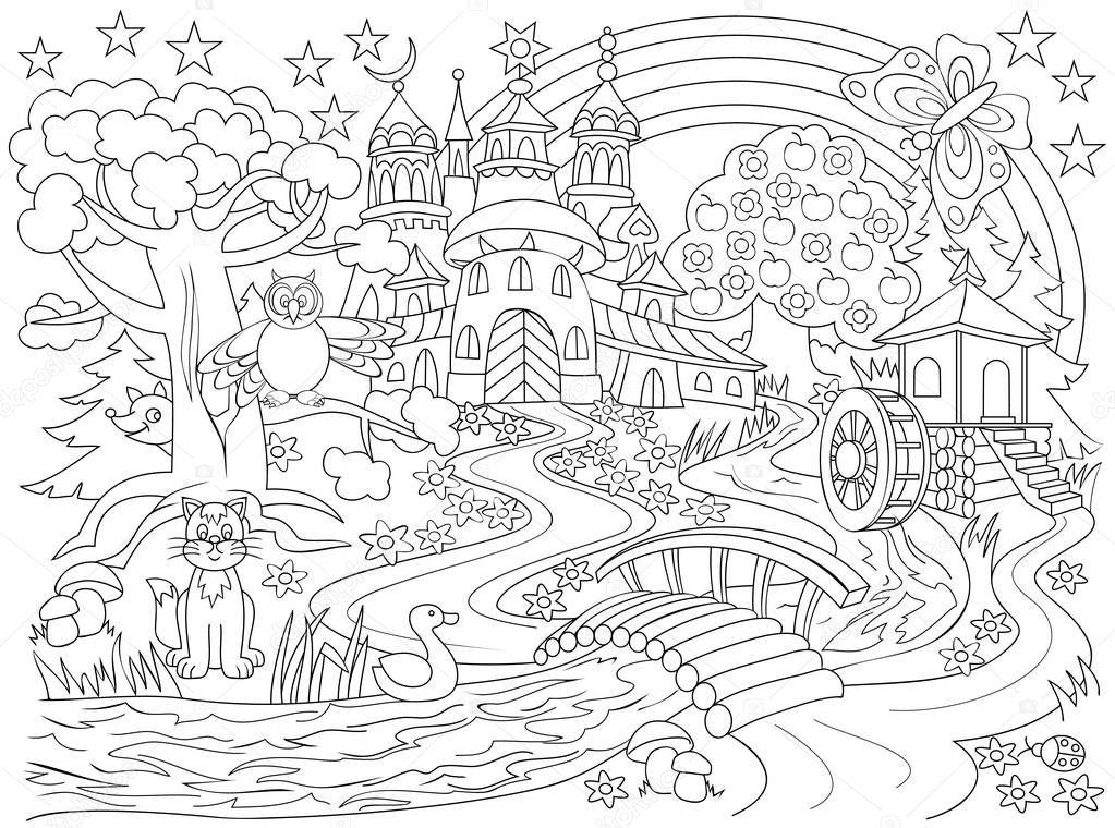 dessin en noir et blanc du pays de f u00e9erie  illustration d u2019un ch u00e2teau m u00e9di u00e9val dans la for u00eat