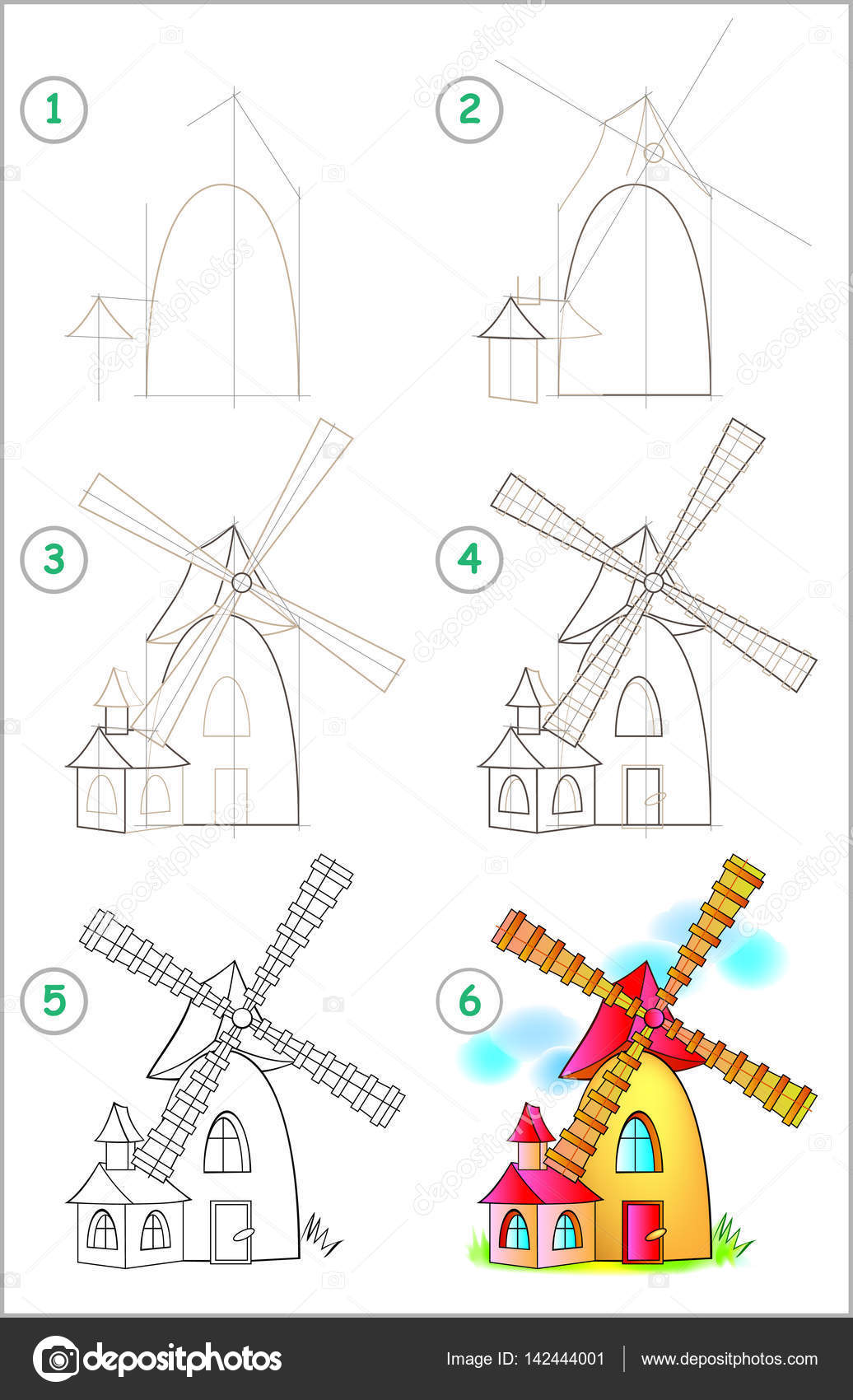 page shows how to learn step by step to draw a windmill stock vector
