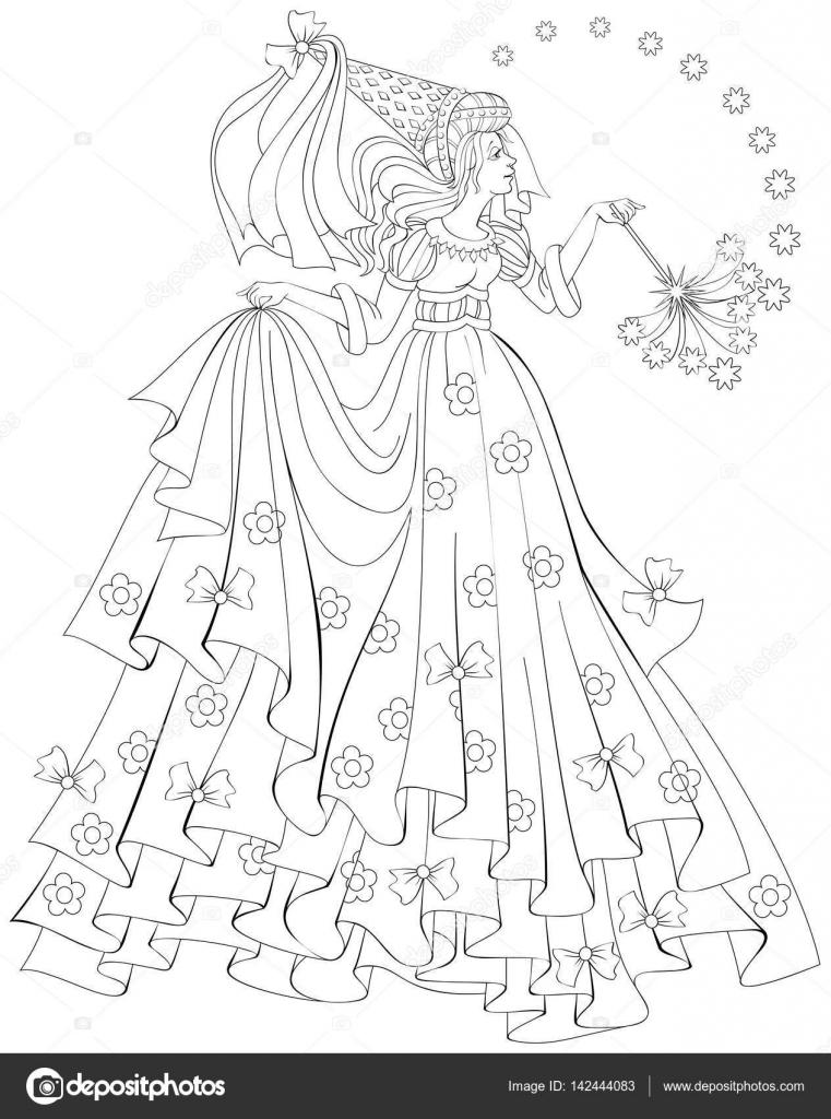 Ilustración de hermosa hada con varita mágica para colorear en ...