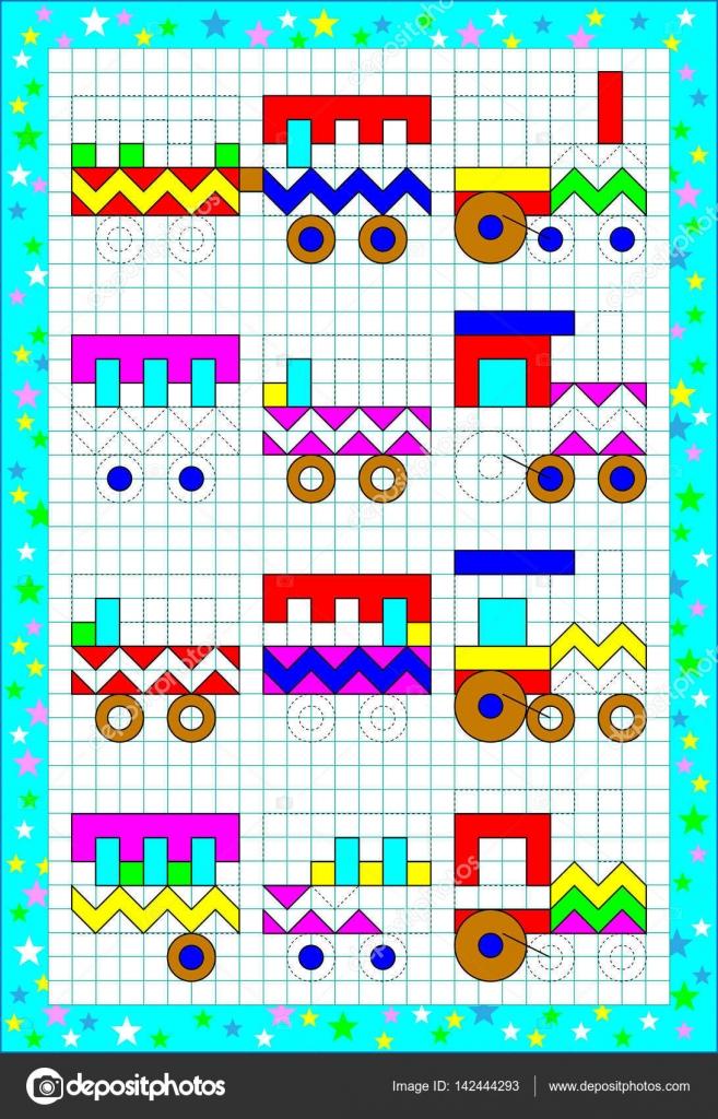 Logik-Puzzle-Spiel für kleine Kinder auf einem quadratischen Papier ...