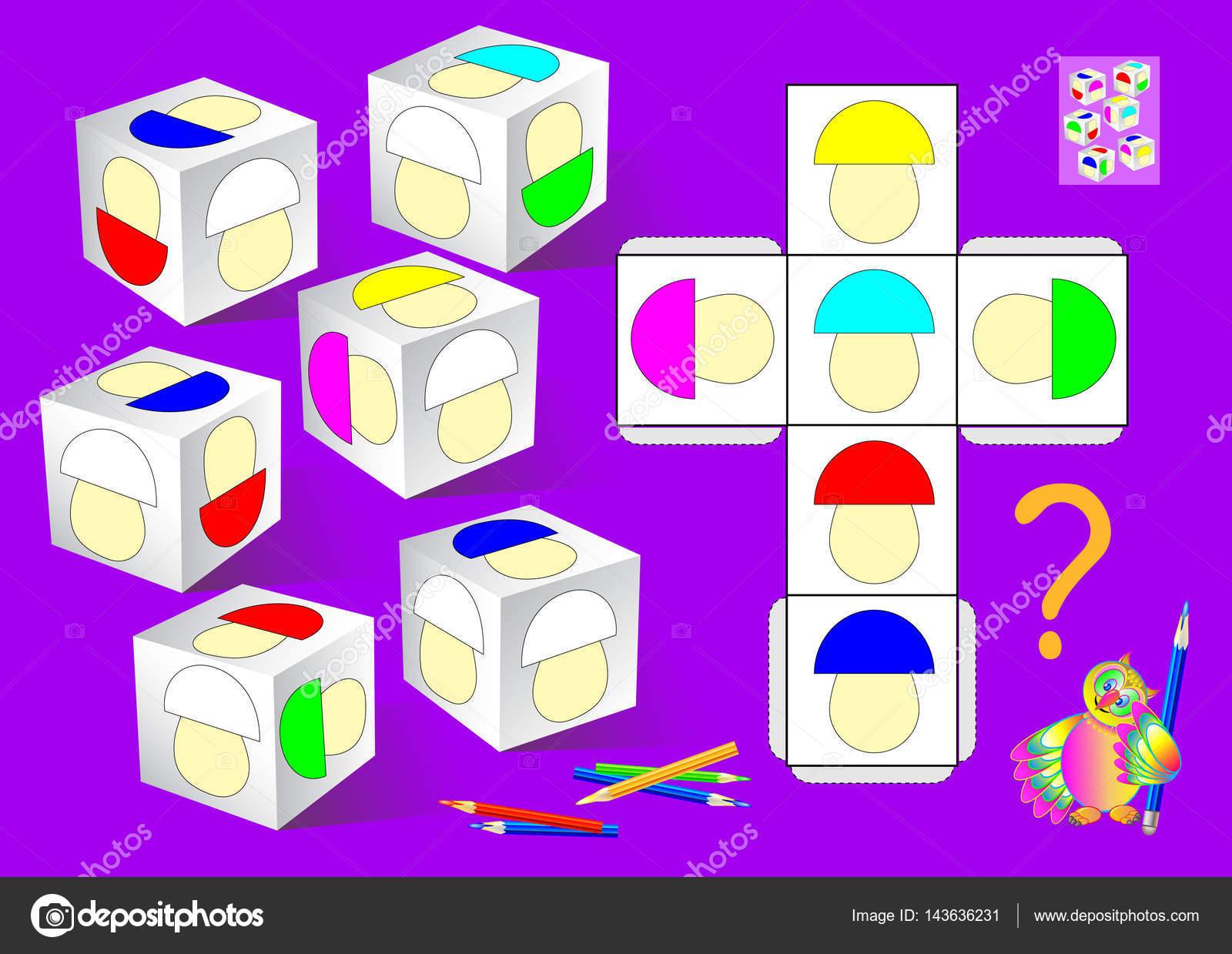 Logik-Puzzle-Spiel. Müssen Sie die weißen Pilze auf die Würfel nach ...