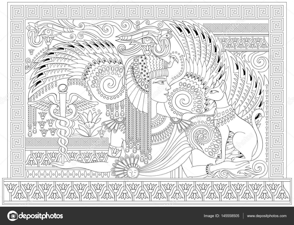 Black And White Page For Coloring Drawing Of Beautiful Egyptian