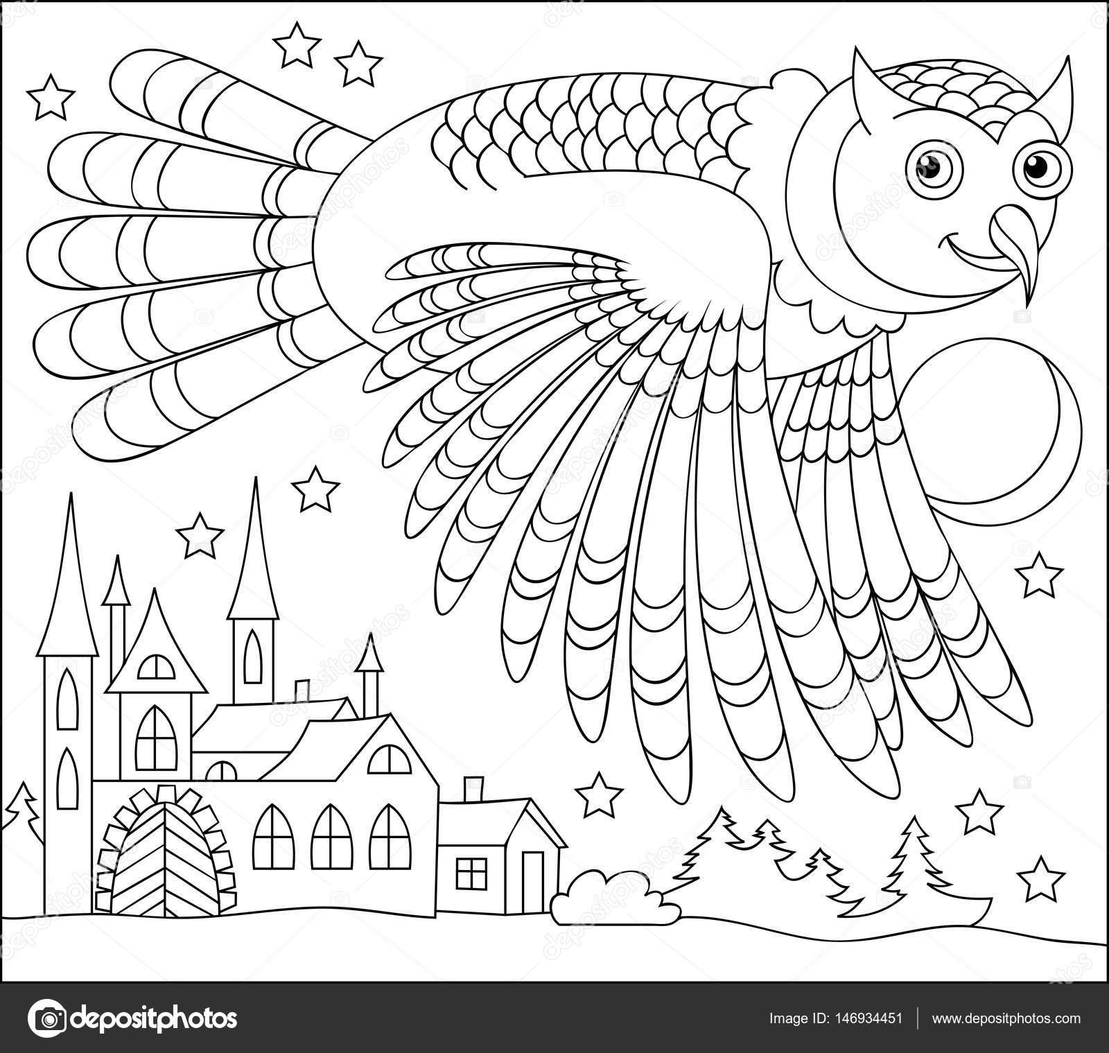Página para colorear en blanco y negro. Dibujo de buho volando en la ...