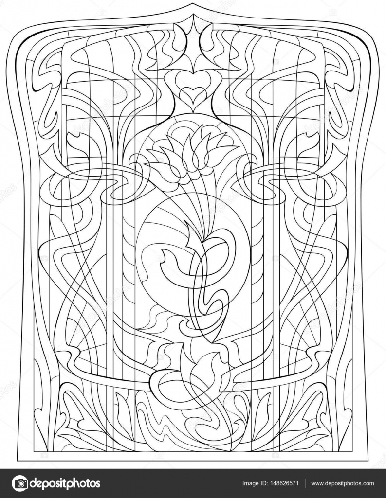 Página para colorear en blanco y negro. Dibujo de hermosa ventana ...