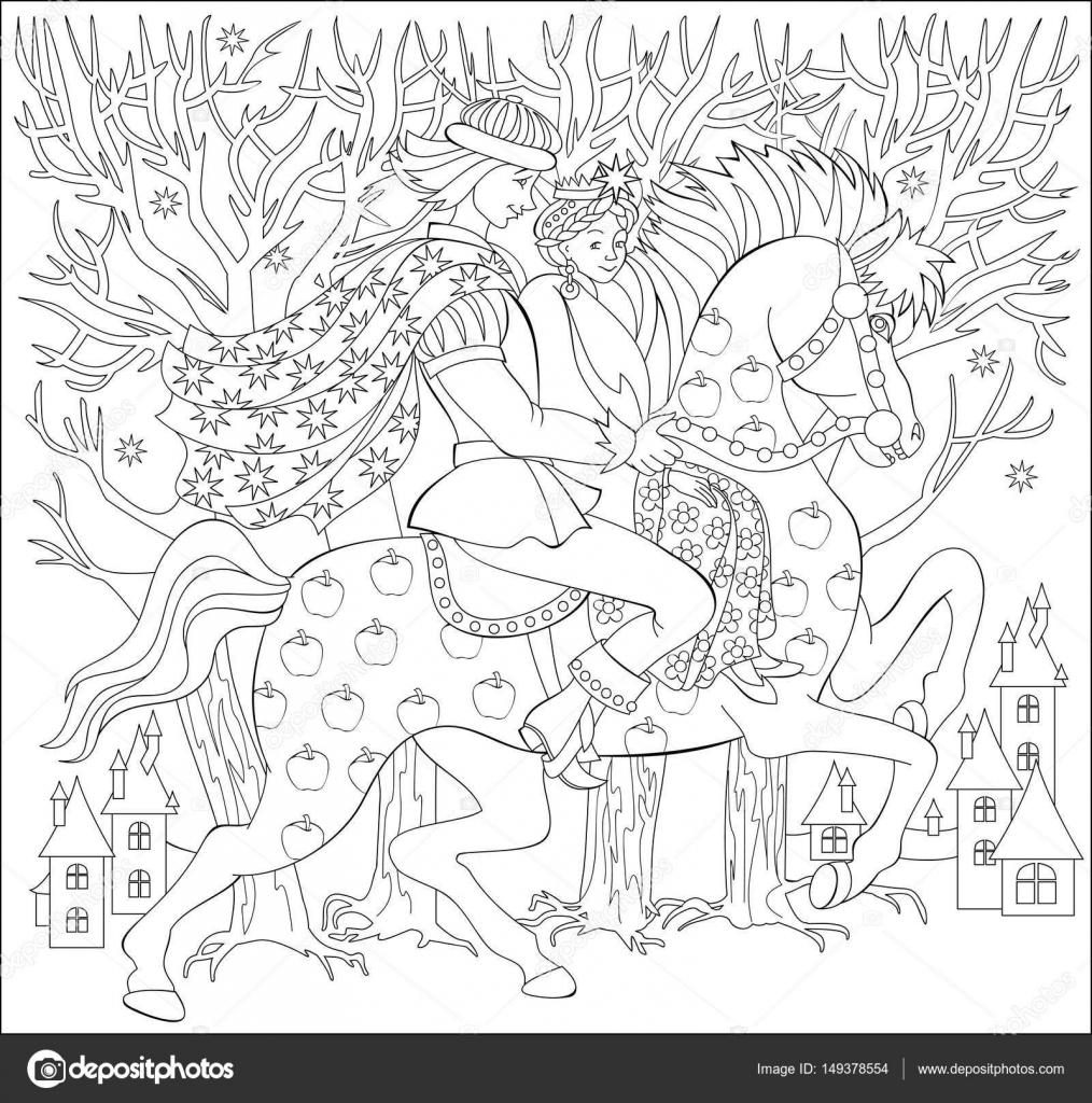 Schwarz und weiß-Abbildung des Prinzen und Fürsten Reiten auf Pferd ...