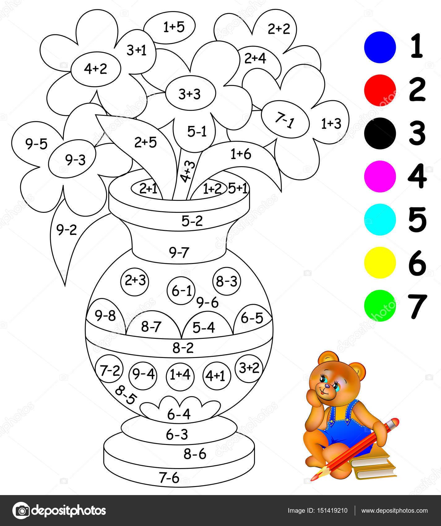Imágenes Suma Para Colorear Página Educativa Con Ejercicios Para