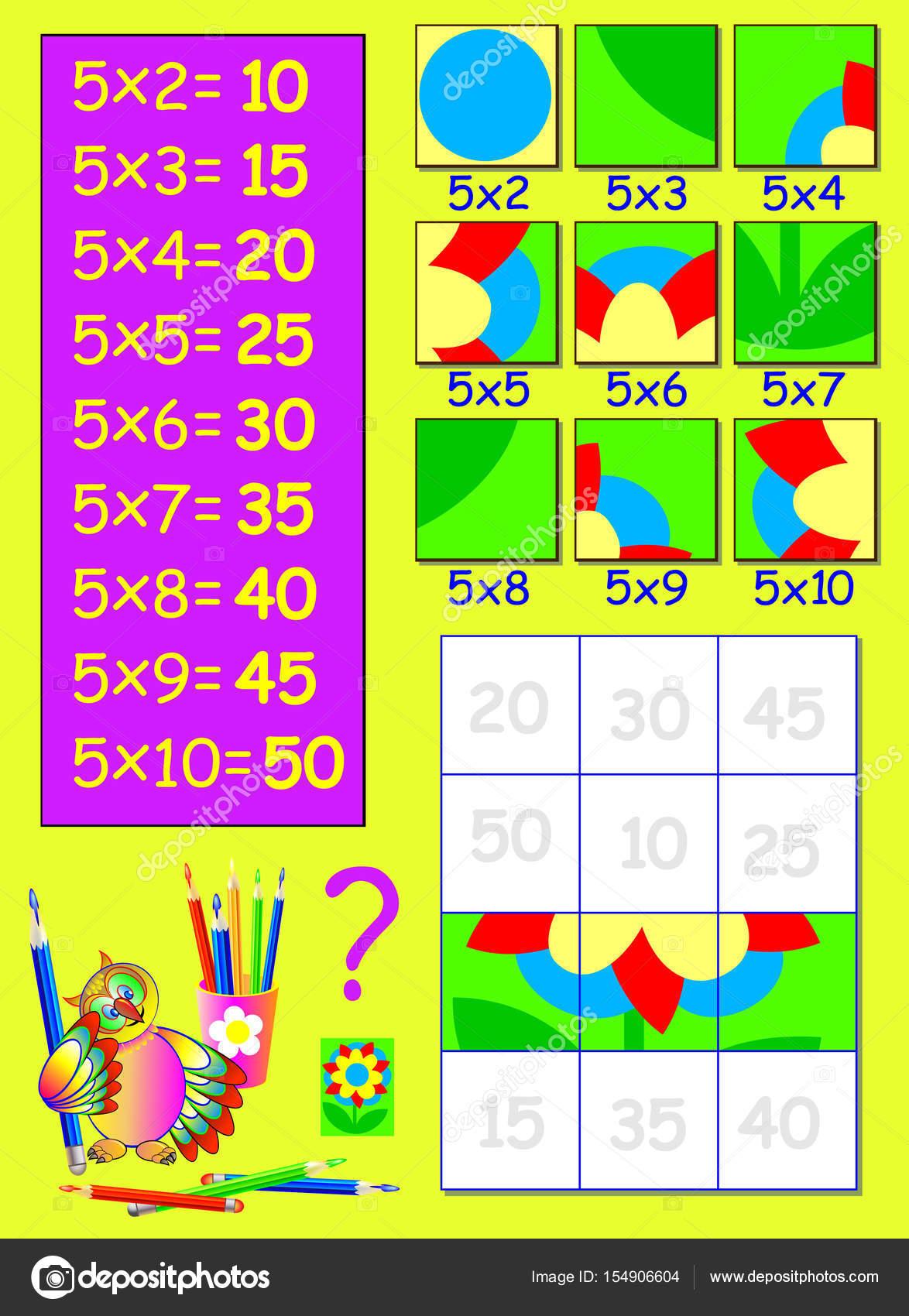 Übung für Kinder mit Multiplikation mit fünf. Du musst die Quadrate ...