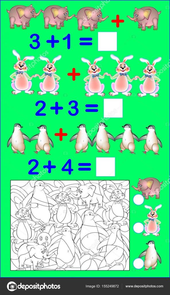 Página educativa con ejercicios para niños en adición. Resolver ...