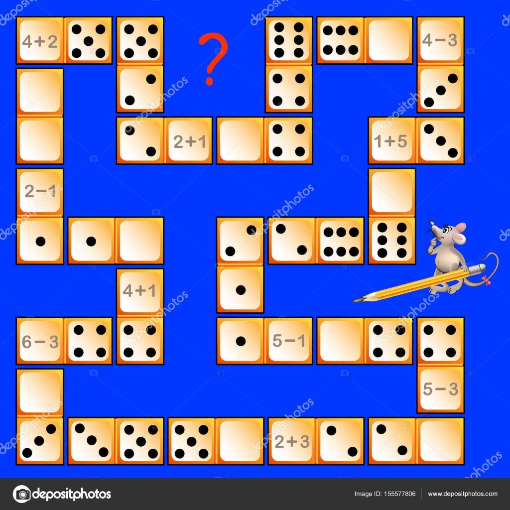 Juego de puzzle de lógica para niños con fichas de dominó. Resolver ...
