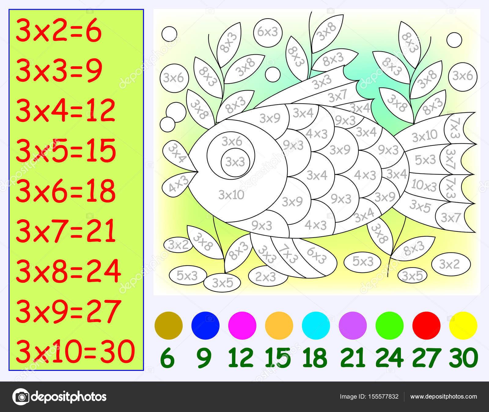 Übung für Kinder mit Multiplikation mit drei. Bild in der ...