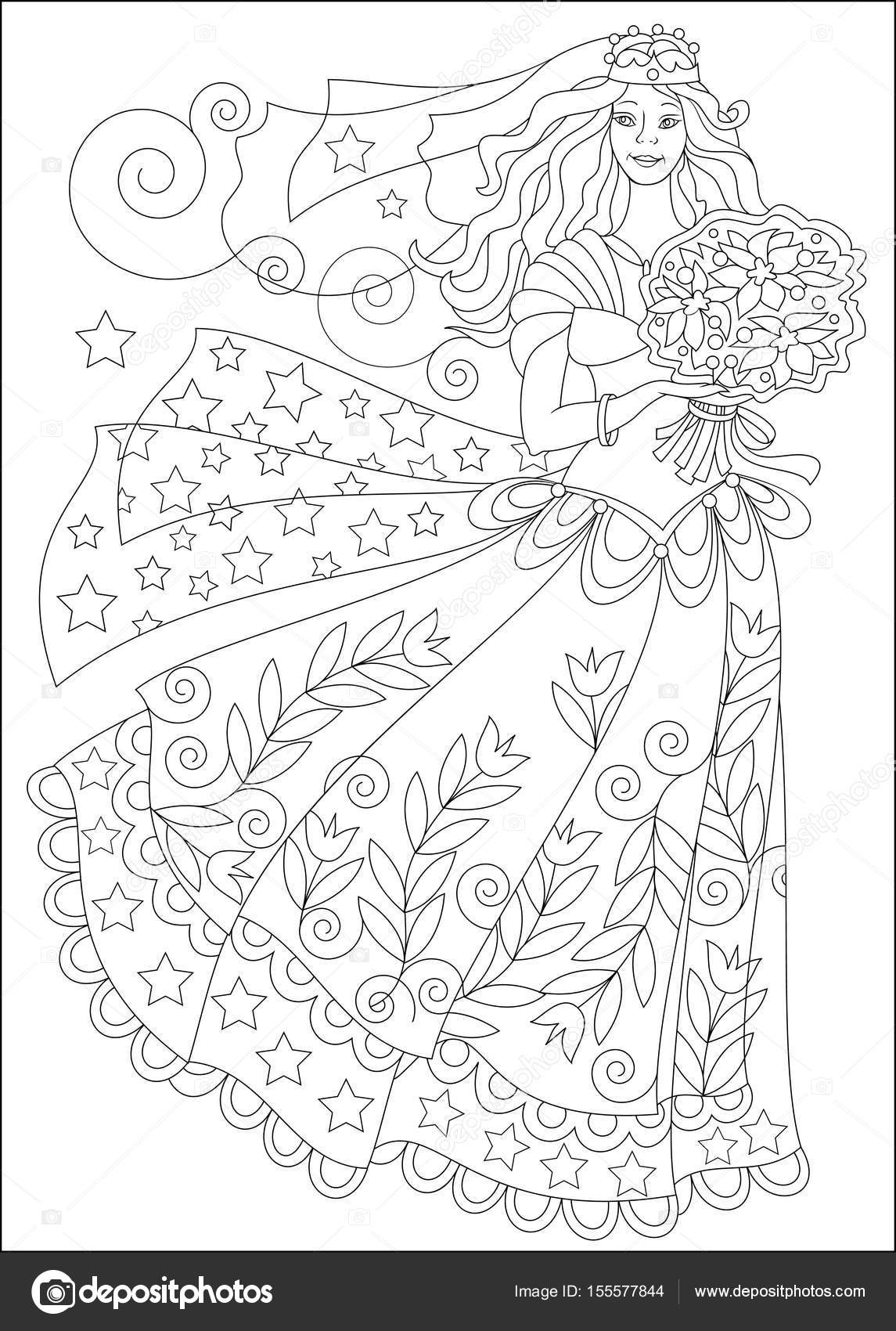 Black And White Page For Coloring Beautiful Girl In Elegant Wedding Dress Worksheet