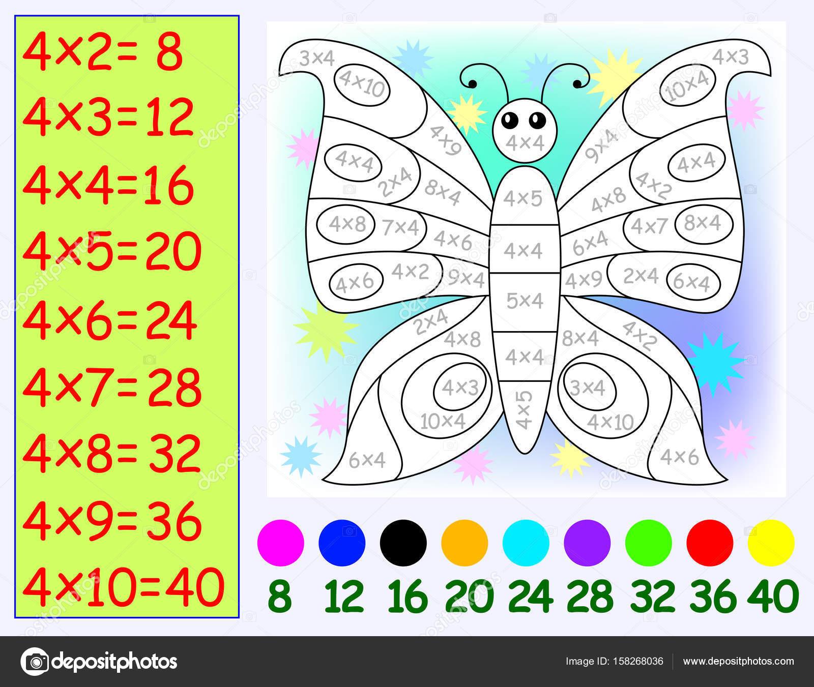 Ejercicio para los niños con multiplicar por cuatro. Necesita pintar ...