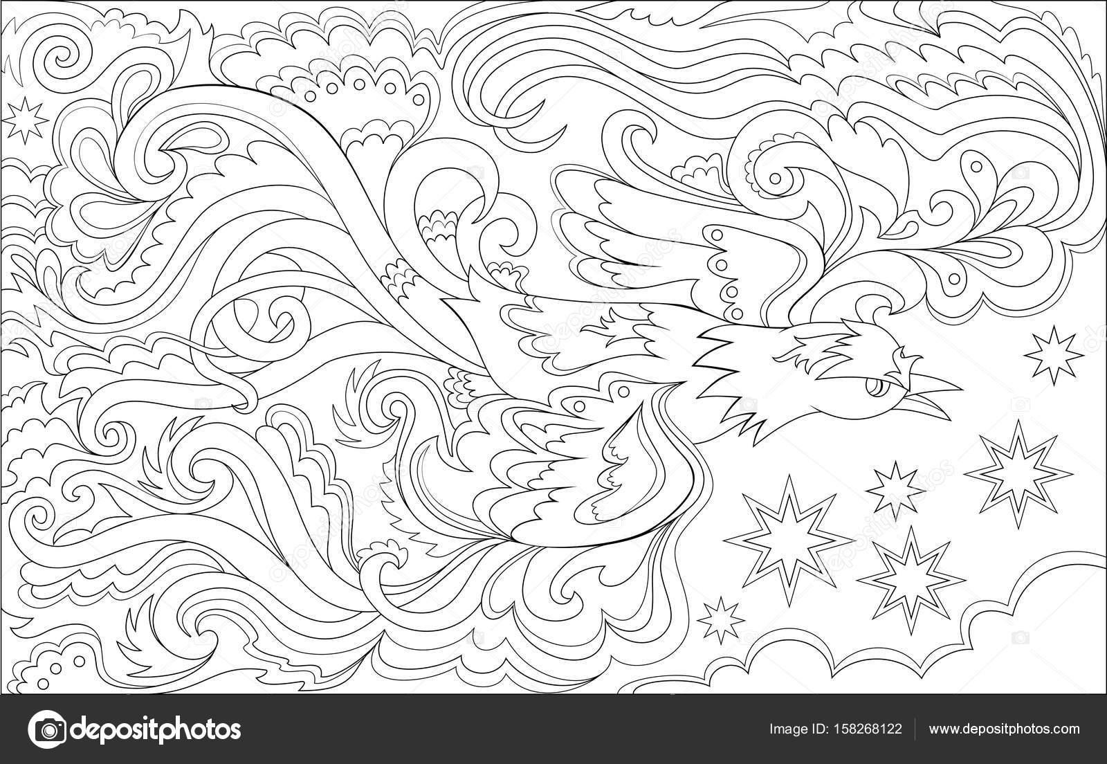 Black And White Seite zum Ausmalen. Magischen fliegenden Vogel ...