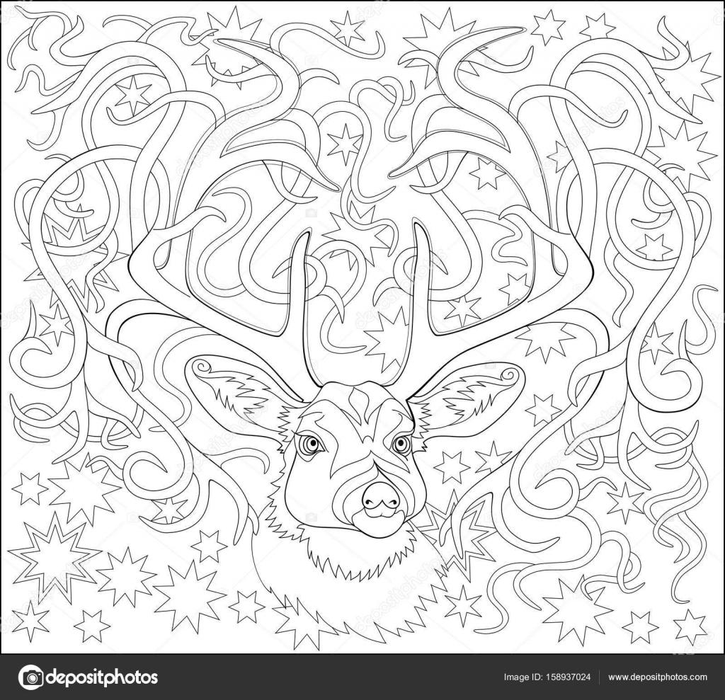 Página para colorear en blanco y negro. Fantástico dibujo de ciervo ...