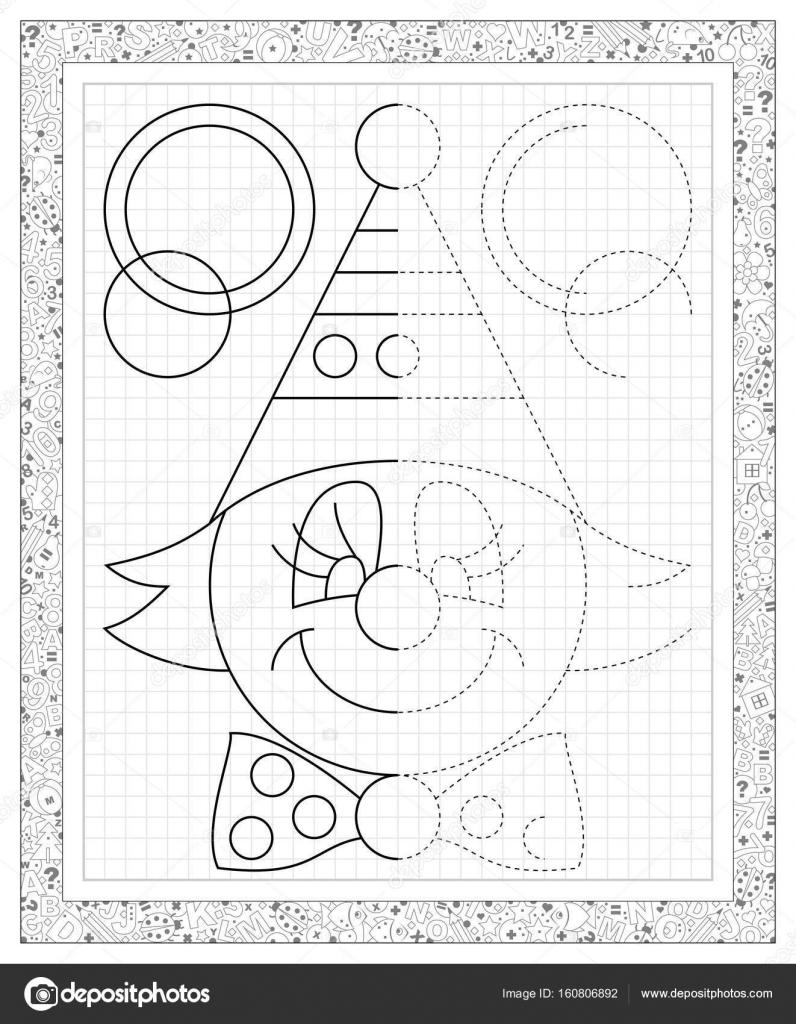 Schwarz / weiß-Arbeitsblatt auf einem quadratischen Papier mit Übung ...