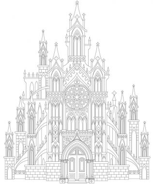 Fantasy drawing of medieval Gothic castle. Black and white page for coloring. Worksheet for children and adults.