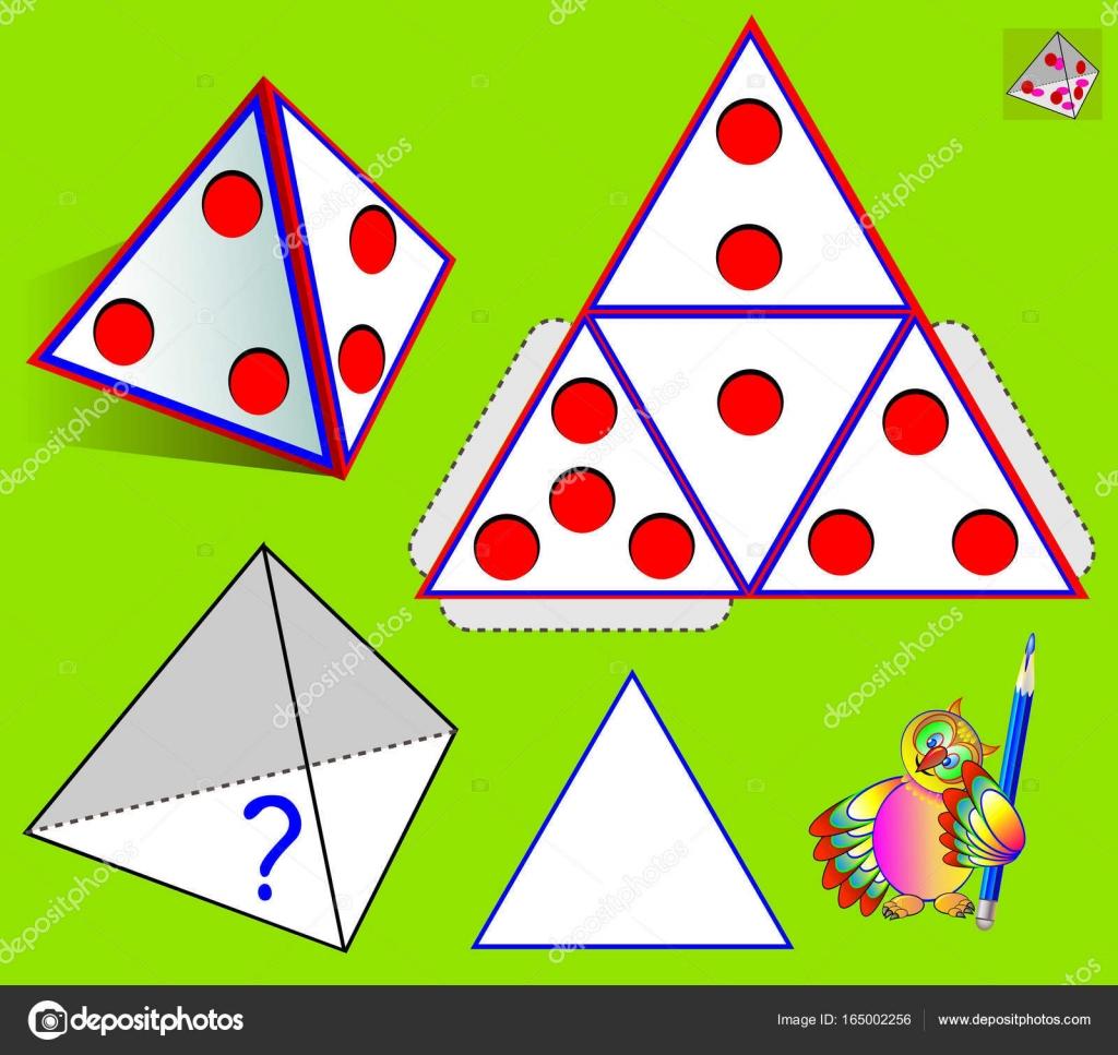 Logik-Puzzle-Spiel. Was ist an der Unterseite der Pyramide nach ...