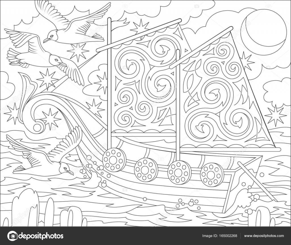 Seite mit schwarz / weiß Darstellung der Phantasie keltischen Schiff ...