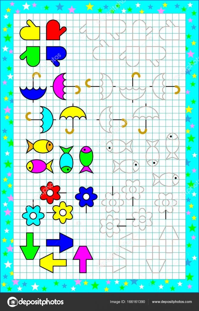 Arbeitsblatt für kleine Kinder auf einem quadratischen Papier. Logik ...