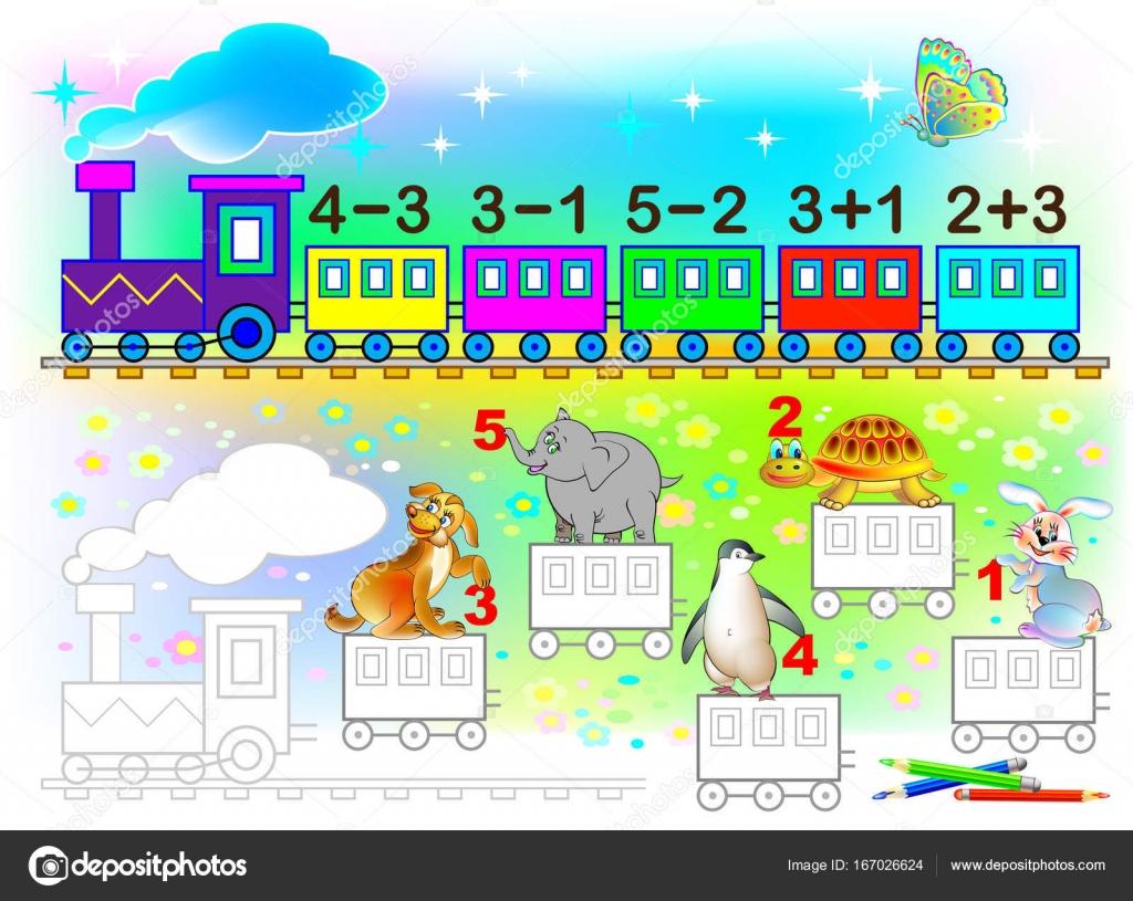Hoja de cálculo matemático para niños sobre suma y resta. Necesita ...