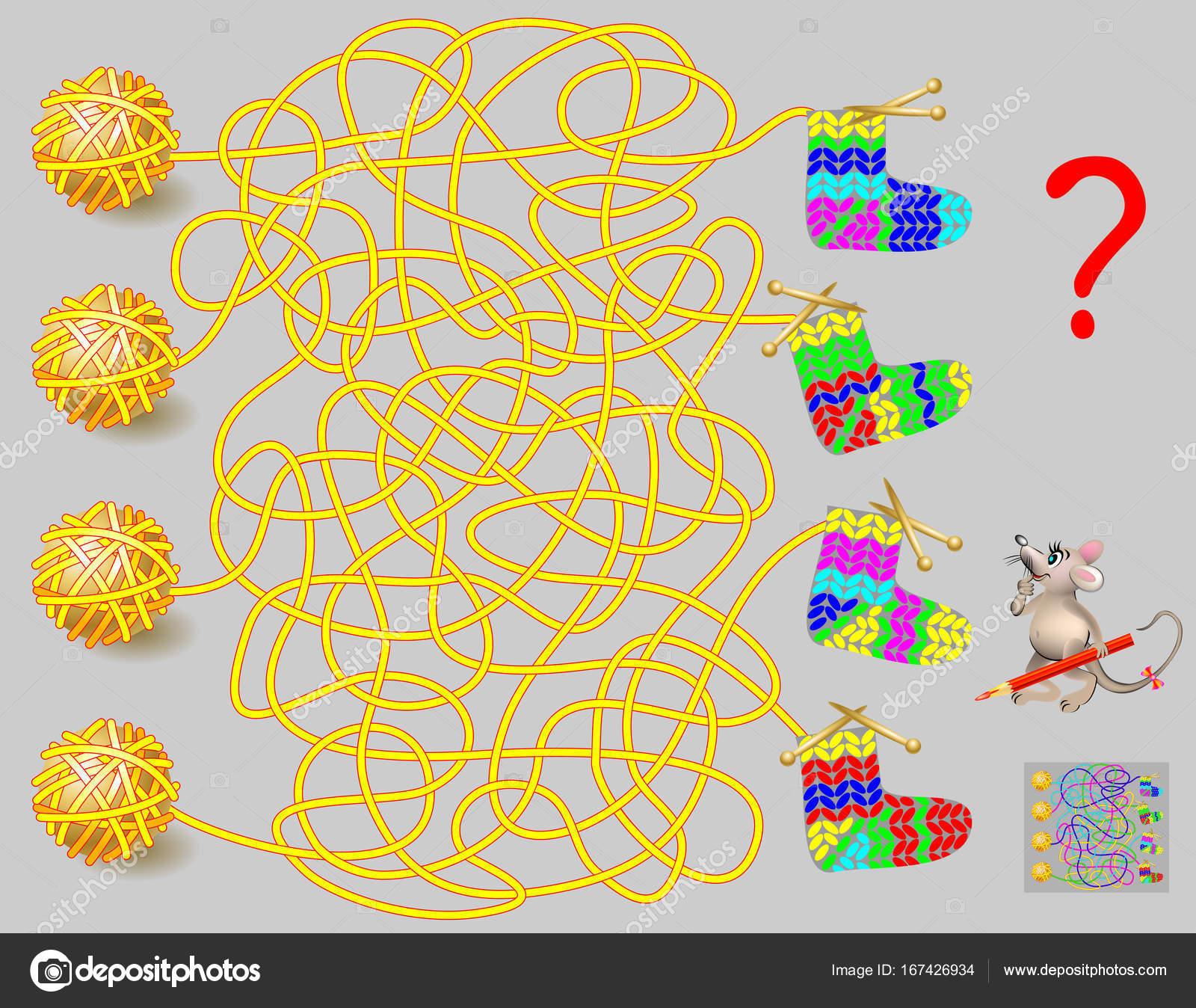 Logik-Puzzle-Spiel mit Labyrinth für Kinder und Erwachsene. Den Weg ...