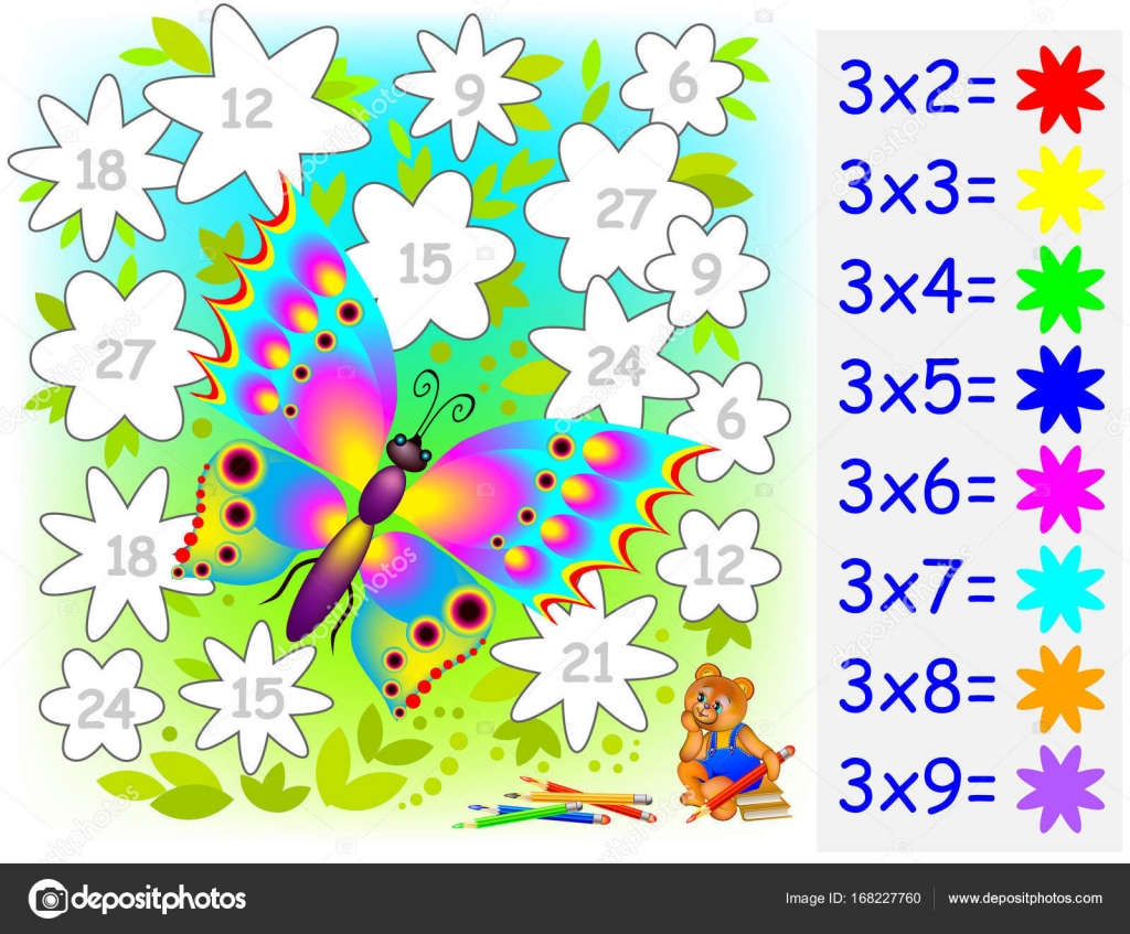 Exercise for children with multiplication by four. Need to paint ...